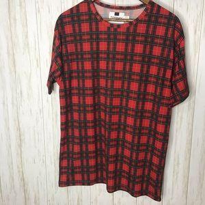 Topman womens plaid T-shirt Large